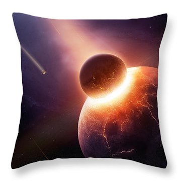 When Planets Collide Throw Pillow