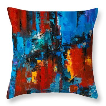 When Red And Blue Meet Throw Pillow