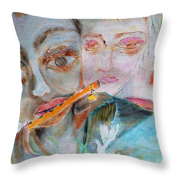 When She Fall In Love With The Vagabond Flute Player Throw Pillow
