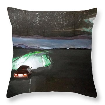 Throw Pillow featuring the painting When The Night Start To Walk Listen With Music Of The Description Box by Lazaro Hurtado