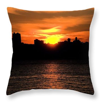 Throw Pillow featuring the photograph When The Sun Goes Down In The City  by Bob Wall