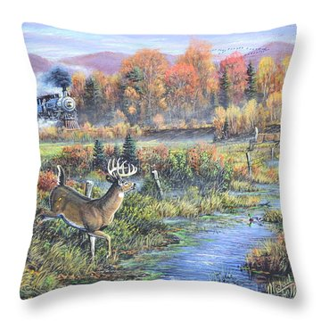When The Whistle Blows Throw Pillow by Michael Wawrzyniec