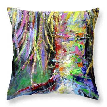 Throw Pillow featuring the painting When Trees Dream by Jodie Marie Anne Richardson Traugott          aka jm-ART