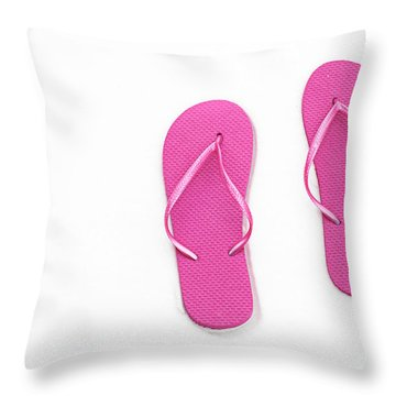 Where On Earth Is Spring - My Hot Pink Flip Flops Are Waiting Throw Pillow by Andee Design