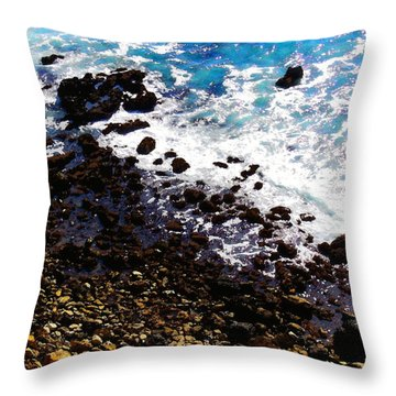 Where Sea And Land Meet Throw Pillow by Timothy Bulone
