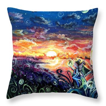 Throw Pillow featuring the painting Where The Fairies Play by Shana Rowe Jackson