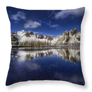 Where The Mountains Meet The Sky Throw Pillow by Evelina Kremsdorf