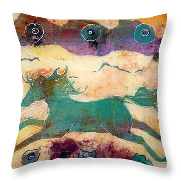Throw Pillow featuring the painting Where Wild Horses Roam by P Maure Bausch