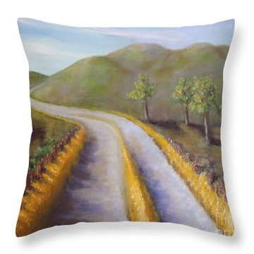 Autumn Road Throw Pillow by Laurie Morgan