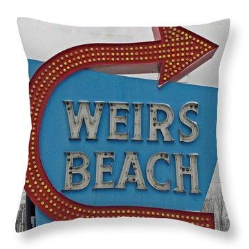 Where's Weirs? Throw Pillow by Barbara McDevitt