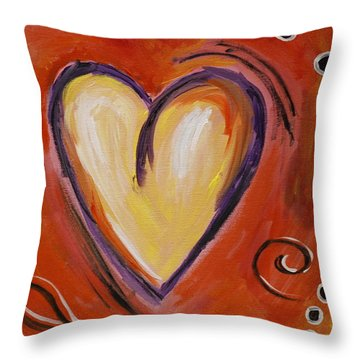 Whimsical  Abstract Art - With All My Heart Throw Pillow