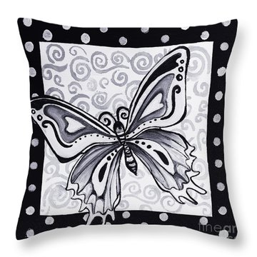 Whimsical Black And White Butterfly Original Painting Decorative Contemporary Art By Madart Studios Throw Pillow by Megan Duncanson