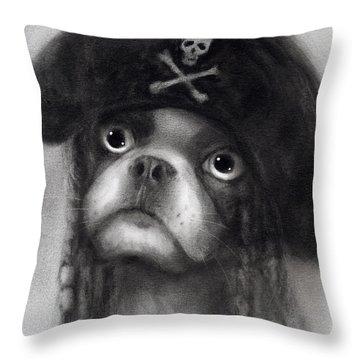 Whimsical Funny French Bulldog Pirate  Throw Pillow by Svetlana Novikova