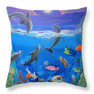 Whimsical Original Painting Undersea World Tropical Sea Life Art By Madart Throw Pillow by Megan Duncanson