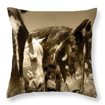 Whimsical Stallions Throw Pillow