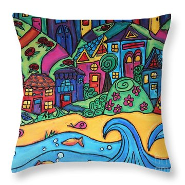 Whimsical Town Sectional  Throw Pillow