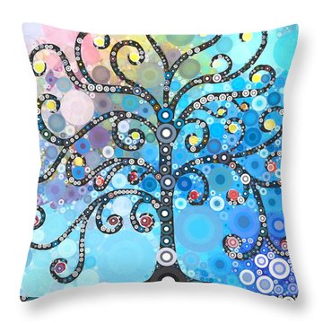 Whimsical Tree Throw Pillow by Linda Bailey