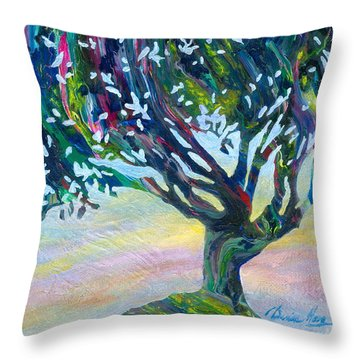 Whimsical Tree Pastel Sky Throw Pillow by Denise Hoag