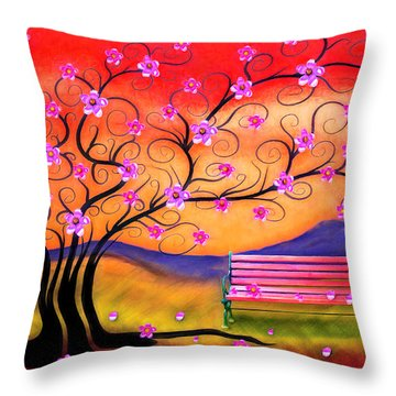 Throw Pillow featuring the digital art Whimsy Cherry Blossom Tree-1 by Nina Bradica