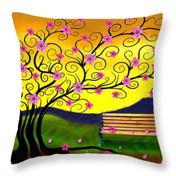 Throw Pillow featuring the digital art Whimsy Cherry Blossom Tree-2 by Nina Bradica