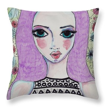 Whimsy Girl With Purple Hair Throw Pillow