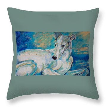 Whippet-effects Of Gravity 4 Throw Pillow by Derrick Higgins