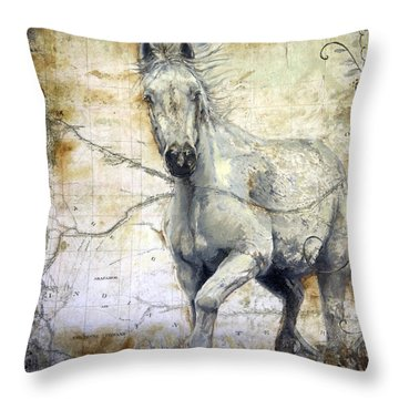 Whipsers Across The Steppe Throw Pillow by Enzie Shahmiri