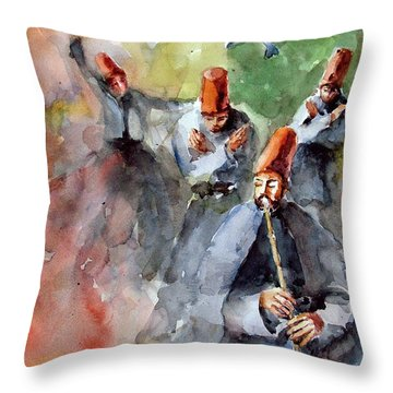Whirling Dervishes And Pigeons         Throw Pillow
