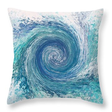 Whirlwind In Blue Throw Pillow