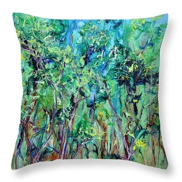 Whirlwoods Throw Pillow by Regina Valluzzi