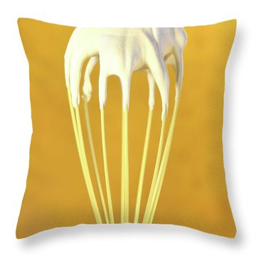 Whisk With Whip Cream On Top Throw Pillow by Sandra Cunningham