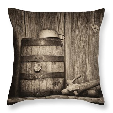 Whiskey Barrel Still Life Throw Pillow by Tom Mc Nemar