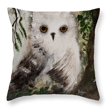 Whisper The Snowy Owl Throw Pillow