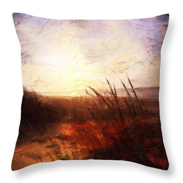 Throw Pillow featuring the painting Whispering Shores By M.a by Mark Taylor