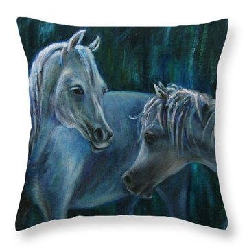 Throw Pillow featuring the painting Whispering... by Xueling Zou