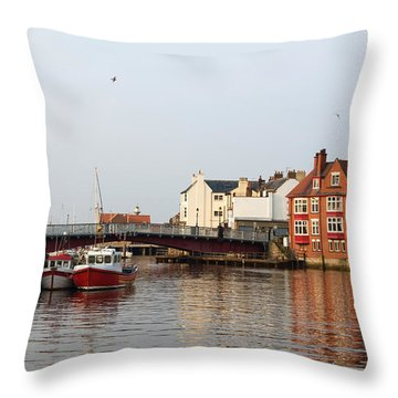 Whitby Harbour Throw Pillow by Jane McIlroy