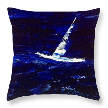 White Boat - Dark Sea And Sky Throw Pillow