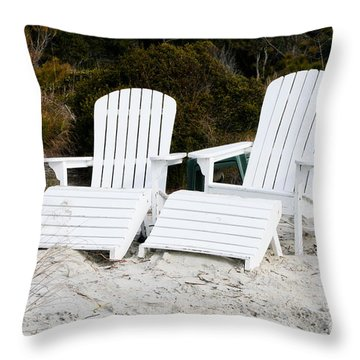 White Adirondack Chairs In The Sand Throw Pillow by Thomas Marchessault
