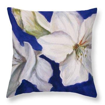 Throw Pillow featuring the painting White Amaryllis  by Melinda Saminski