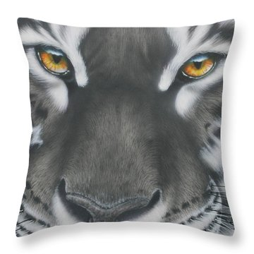 White And Black Tiger Throw Pillow