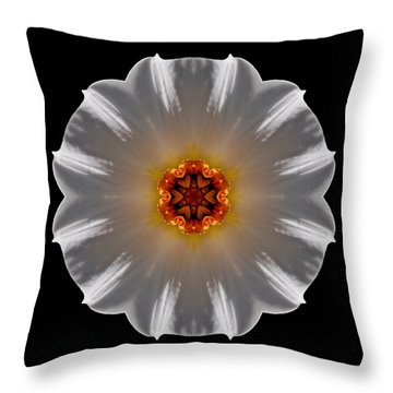 White And Orange Daffodil Flower Mandala Throw Pillow by David J Bookbinder