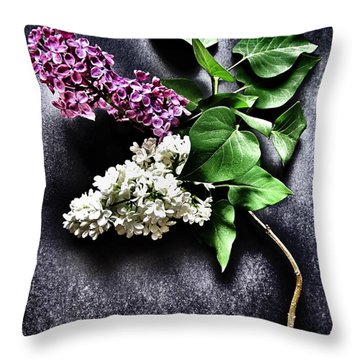White And Purple Lilacs Throw Pillow by Marianna Mills