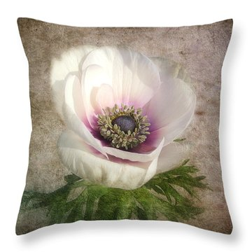 Throw Pillow featuring the photograph White Anemone by Barbara Orenya