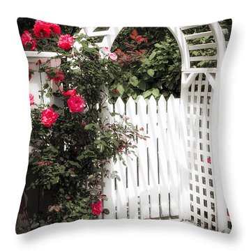 White Arbor With Red Roses Throw Pillow