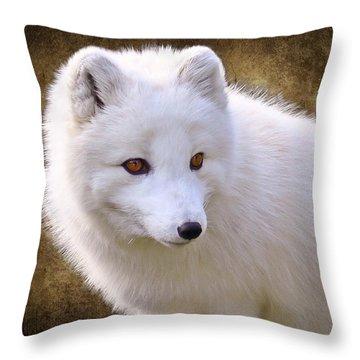 White Arctic Fox Throw Pillow