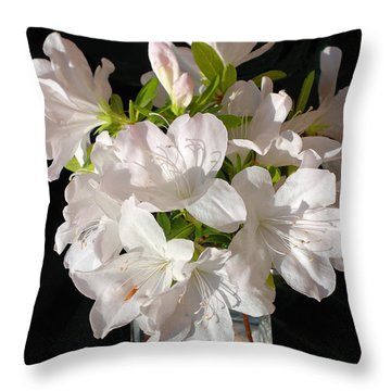 White Azalea Bouquet In Glass Vase Throw Pillow by Connie Fox