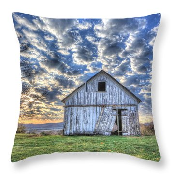 Throw Pillow featuring the photograph White Barn At Sunrise by Jaki Miller