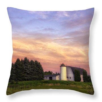 White Barn Sunset Throw Pillow