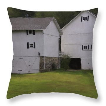 White Barns Throw Pillow