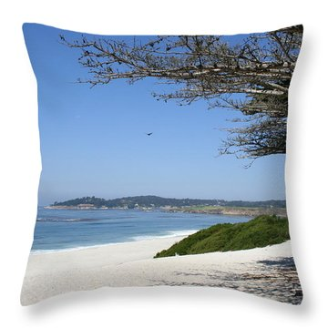 White Beach At Carmel Throw Pillow